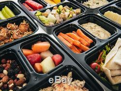 10 Pack BPA Free 3 Compartment Reusable Meal Prep Food Containers Lunch Box Lid