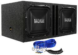 (2) Hifonics BRZ12SQD4 12 2400w Square Car Subwoofers+Vented Sub Enclosure Box