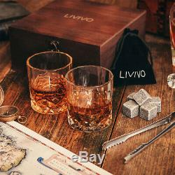 2pc Whiskey Glasses & 8pc Ice Stone Tumblers Drinking Glasses Gift Boxed Set Wed