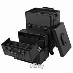 3 in 1 Rolling Cosmetic Makeup Case Salon Trolley Train Organizer Storage Box