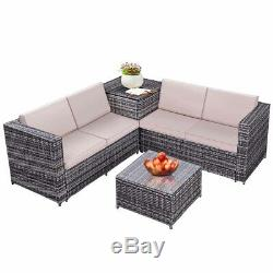 4PCS Patio Rattan Wicker Furniture Set Sofa Loveseat Cushioned WithStorage Box New