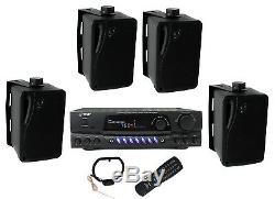 4 Pyle PLMR24B 3.5 200W Box Speakers + PT260A Home Digital Stereo Receiver