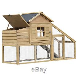 69 Large Wooden Outdoor Backyard Chicken Coop Hen Hutch Cage with Nesting Box