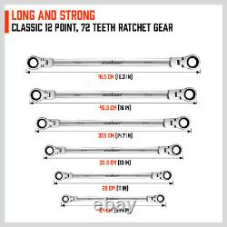 6PC Flex-Head Double Box End Ratcheting Wrenches Extra Long Metric Universal NEW
