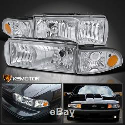 91-96 Chevy Caprice 94-96 Impala Chrome Headlights+Clear Corner Signal Lamps