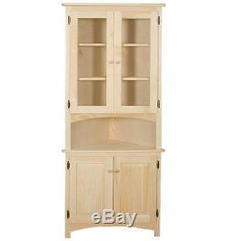 AMISH Unfinished Solid Pine CORNER HUTCH China Cabinet Country HANDMADE WOOD