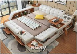 All-In-One Bed Post Modern Style Real Leather King Size Storage Box Sideboard