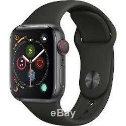 Apple Watch Series 4 44mm Space Gray Aluminum GPS Cellular Black Sport Open Box