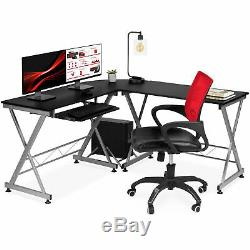 BCP Modular L-Shape Corner Computer Desk with Wooden Tabletop, Keyboard Tray