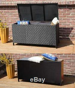 BIRCHTREE Garden Furniture Rattan Storage Box Woven Chest Patio Outdoor PE RSB01