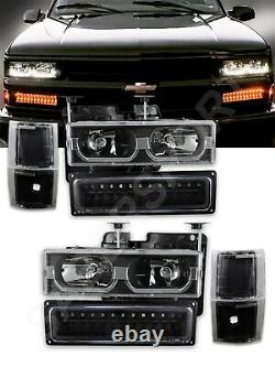 Black Headlights with U Bar + LED Signal Lights for 1994-1999 Chevy C/K Full Size