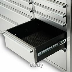 CRYTEC 72 Stainless Steel 15 Drawer Work Bench Tool Box Chest Cabinet Roll Cab