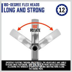 Double Box End Ratcheting Wrench Flex-Head Extra Long 6 PC Spanner Set Metric