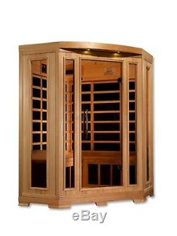 Dynamic Harmony 3 Person Corner Low EMF Far Infrared Sauna 9 Carbon Heaters NEW