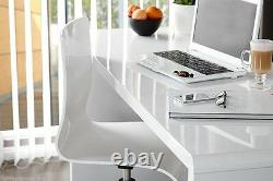 ENZO White High Gloss Large Computer PC Home Executive Study Office Corner Desk