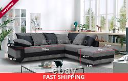 Extra Large 3/4 Seater Corner Sofa Footstool Black Grey Right Hand Side