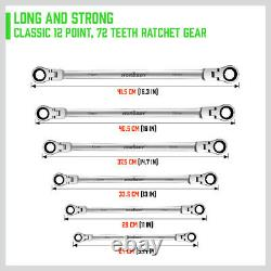 Extra Long Ratcheting Wrenches Spanner Set Double Box End Flex-Head SAE Metric