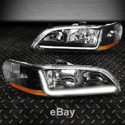 FOR 1998-2002 HONDA ACCORD PAIR BLACK HOUSING AMBER CORNER HEADLIGHT WithLED DRL