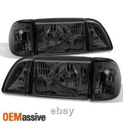 Fit 87-93 Mustang Smoke Headlights with Corner & Parking 6Pcs Complete Replacement