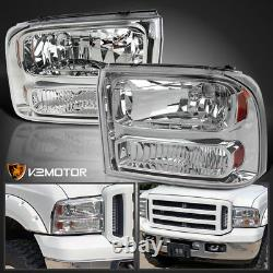 Fits 1999-2004 Ford F250 F350 SuperDuty 1PC Style Headlights Corner Lamps Pair