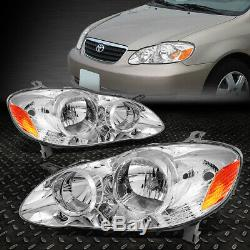For 03-08 Toyota Corolla Chrome Housing Amber Corner Headlight Replacement Lamps