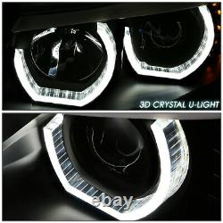 For 06-08 Bmw E90 3-series Black 3d Crystal Halo Projector Headlight+led Corner