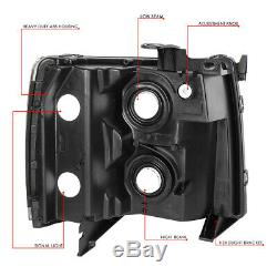 For 07-14 Chevy Silverado Black Housing Clear Corner Headlight Replacement Lamp