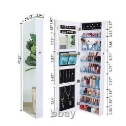Full Mirror Jewelry Cabinet Armoire Cosmetic Storage Boxes Lockable Wall Mounted