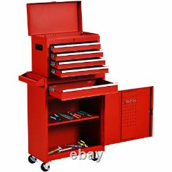 IRONMAX 2 in 1 Rolling Tool Box Organizer Tool Chest With5 Sliding Drawers Utility