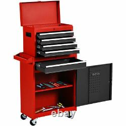 Ironmax 2 in 1 Rolling Tool Box Organizer Tool Chest with 5 Sliding Drawer Durable