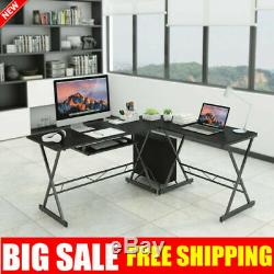 L-Shaped Corner Gaming Computer Desk PC Table Laptop Study Workstation CPU Stand
