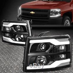 Led Drlfor 07-14 Chevy Silverado Black/clear Corner Projector Headlight Lamps