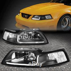 Led Drlfor 99-04 Ford Mustang Black Housing Clear Corner Headlight Head Lamps