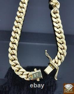 Mens Real 14K Yellow Gold Miami Cuban Bracelet 8.5 Inch 8mm 14kt Box clasp Link