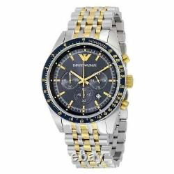 New Authentic Emporio Armani Ar6088 Stainless Steel Blue Dial Mens Watch Uk
