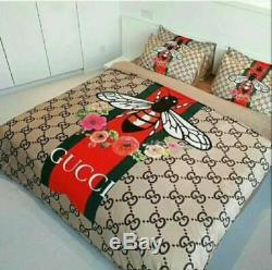 New Gucci Symbol Bedding Set King size bed 100% luxury Cotton with Gift Box