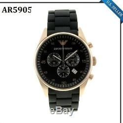 New In Box Emporio Armani AR5905 Black and Gold Chronograph Dial Men's Watch