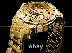 New Invicta Pro Diver Scuba 18K Gold Plated Gold Dial Chrono S. S Bracelet Watch