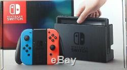 Nintendo Switch with Neon Blue and Neon Red Joy-Con Damaged Box (0093-SM102)