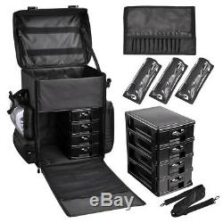 Pro 2in1 Soft Sided Rolling Makeup Trolley Train Case Bag withDrawer Organizer Box