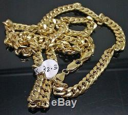REAL 10K Yellow Gold Miami Cuban Link Chain Necklace 7mm 20 inch Box Franco Rope