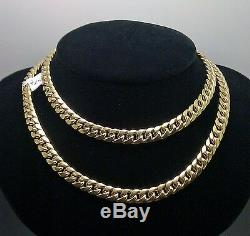 Real 10k Gold Miami Cuban Chain Necklace 7mm 22 Inch, Box Lock Strong Link NEW