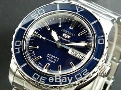 SEIKO 5 SNZH53J1 Automatic 100m Diver New in Box Made in Japan Navy #