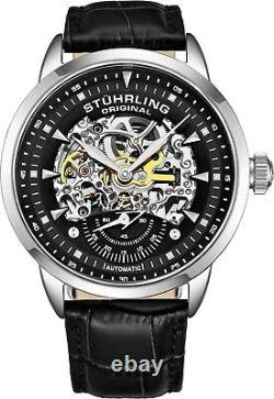 Stuhrling Executive Automatic Skeleton Men's Self Wind Leather Strap Watch