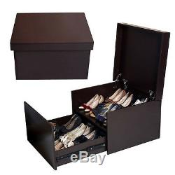 Two Layers Wooden Shoe Cabinet Organizer Storage Box Bench Rack Entryway Brown