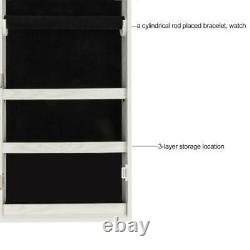 Wall Door Mounted Mirror Jewelry Cabinet Armoire Large Jewelry Organizer Box US