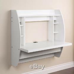 White Home Floating Computer Wall Mounted PC Laptop Desk with Storage Shelf